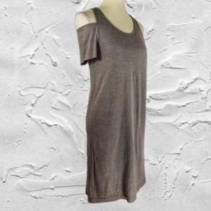 LAMade Cold Shoulder Short Sleeve Gray Dress Sz S